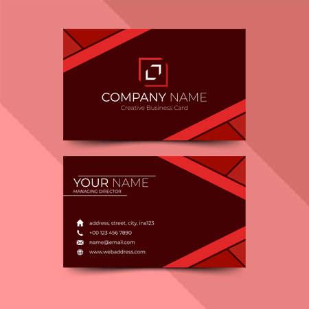 Modern red business card design template, design vector illustration Banque d'images - 130005388