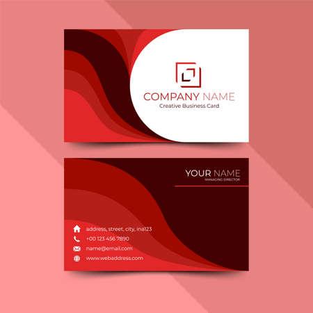 Modern red business card design template, design vector illustration Imagens - 130005390