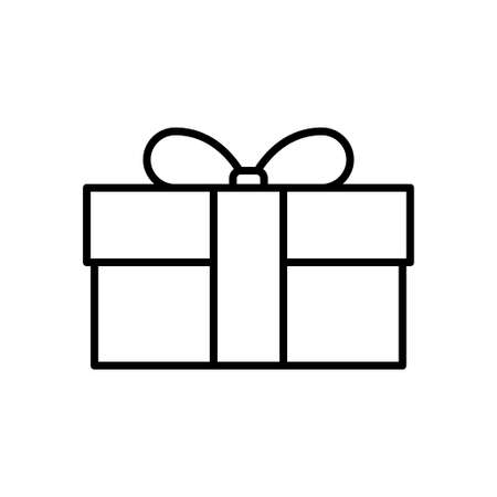 Gift box flat icon on white background, vector illustration