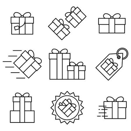 Set of gift box flat icon on white background, vector illustration Ilustração