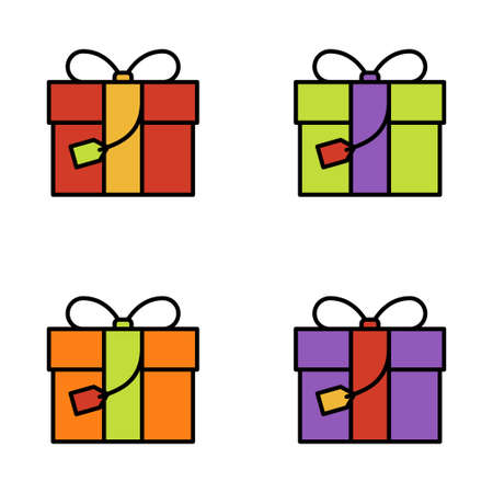 Set of gift box on white background, vector illustration Imagens - 131032005