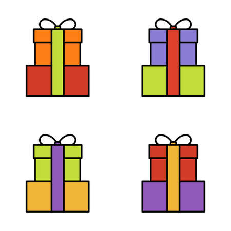 Set of gift box on white background, vector illustration Imagens - 131032007