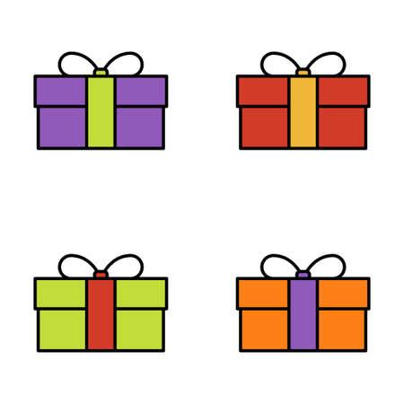 Set of gift box on white background, vector illustration Imagens - 131032009