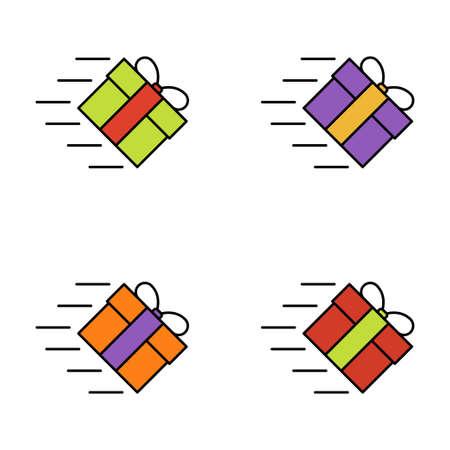 Set of gift box on white background, vector illustration