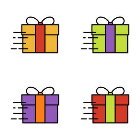 Set of gift box on white background, vector illustration Imagens - 131032008