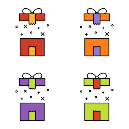 Set of gift box on white background, vector illustration Imagens - 130515527