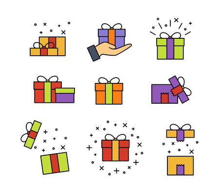 Set of gift box on white background, vector illustration Imagens - 130515529