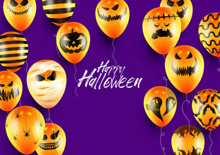 Halloween Poster and Banner Template with Orange Balloons on Purple background Ilustracja