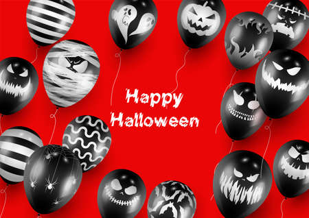 Halloween Poster and Banner Template with Black Balloons on Red background Imagens - 130515536