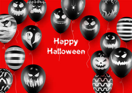 Halloween Poster and Banner Template with Black Balloons on Red background Imagens - 130515535