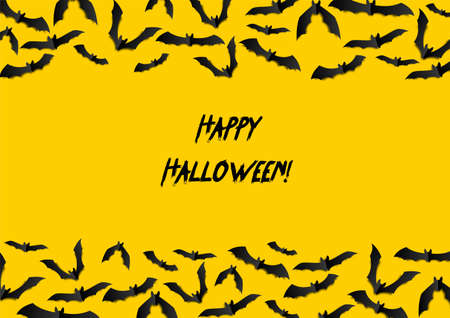 Halloween greeting card with black bats on yellow background