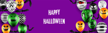 Happy Halloween trick or treat banner template with Scary balloons and Halloween Elements Background