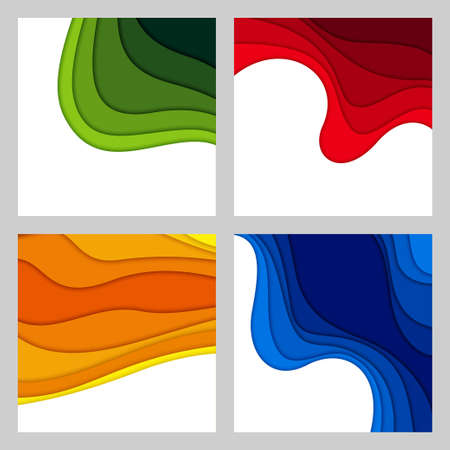 Set of 3D abstract background and paper cut shapes, vector illustration Illusztráció