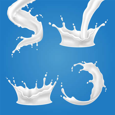 Set of 3D vector illustrations milk splash and pouring, realistic natural dairy products, yogurt or cream, isolated on blue background. Illustration