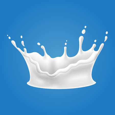 Vector illustrations of milk splash and pouring, realistic natural dairy products, yogurt or cream, isolated on blue background. Illustration