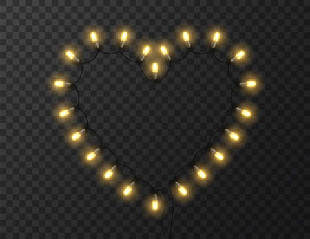 Heart shaped lights isolated on transparent background, design vector illustration Foto de archivo - 138293840