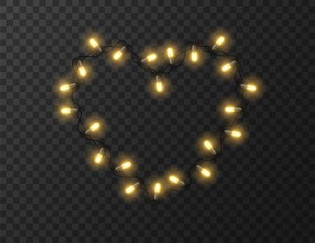 Heart shaped lights isolated on transparent background, design vector illustration Foto de archivo - 138293842