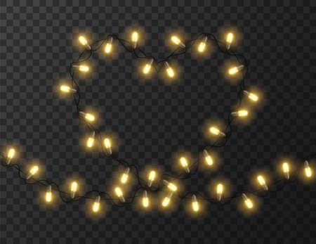 Heart shaped lights isolated on transparent background, design vector illustration Foto de archivo - 138293843