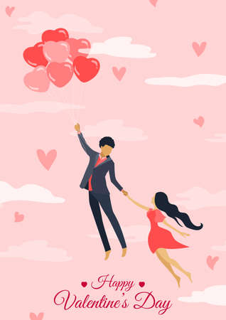 Vector ilustration cards for valentines day. Couple in love, guy and girl on a date, wedding, propose. 向量圖像