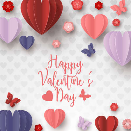Happy valentines day paper cut style with colorful heart shape in white background Çizim