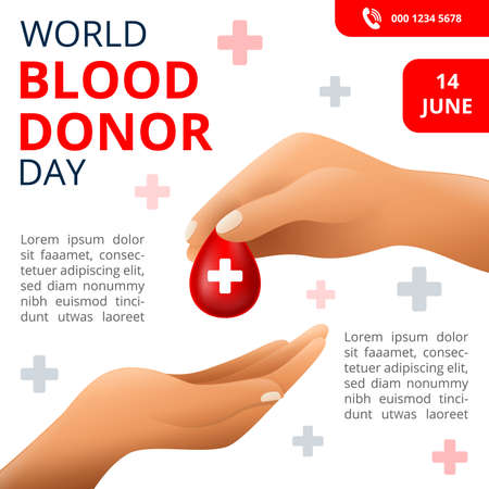 World Blood donor Day, 14th June Illustration Of Blood Donation Concept Design for Banner and Flyer. Vector Illustration