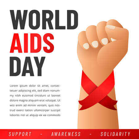 World AIDS day poster. Aids Awareness Red Ribbon. Vector illustration.