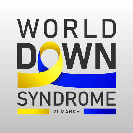 Down syndrome world day vector poster with blue and yellow ribbon. Social poster 21 March World Down Syndrome Day.