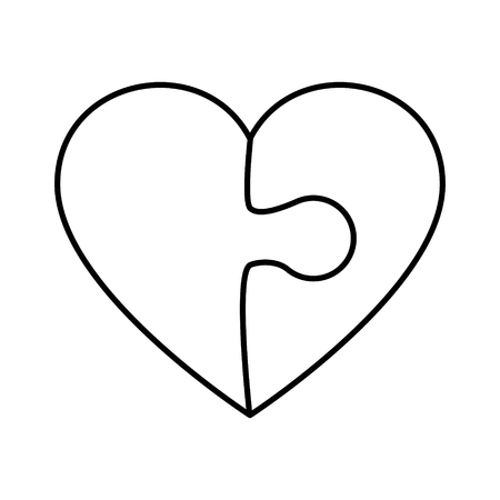 Heart shape icon made of puzzle pieces illustration Illustration