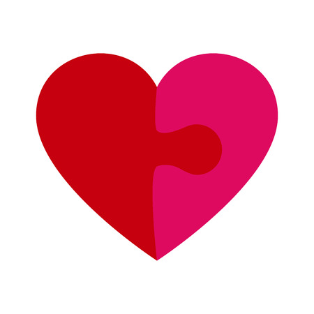 Heart shape icon made of red and pink puzzle pieces