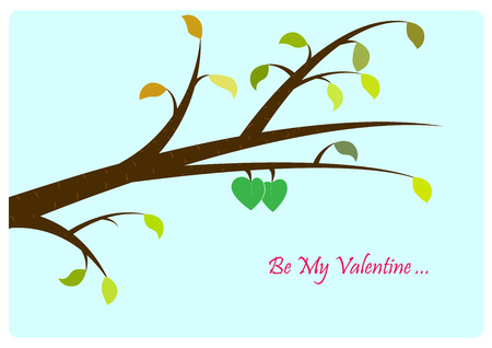 Valentines' Day card. Two leaves in shape of heart, which are very close to each other, have fresh green color while other leaves are losing their colors. Illustration