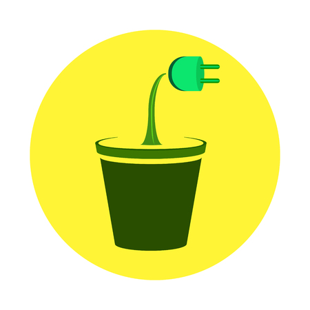 Electrical socket growing as a flower from a pot on a sunny background. Symbol of clean energy. Vectores