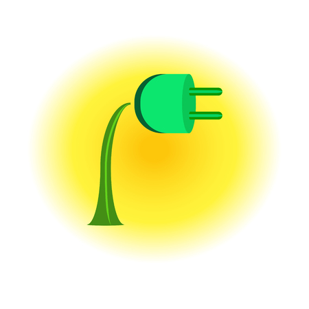 Electrical socket growing as a flower on a sunny background, symbol of clean energy.