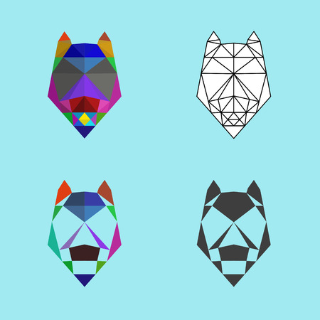 Wolf in low poly style Illustration