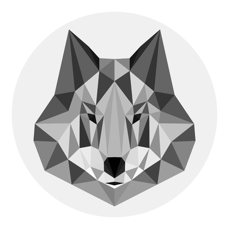 Grey wolf in lowpoly style on light background