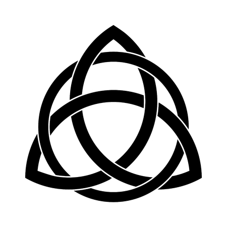 Adorno Triquetra negro con relleno editable y colores de trazo Ilustración de vector