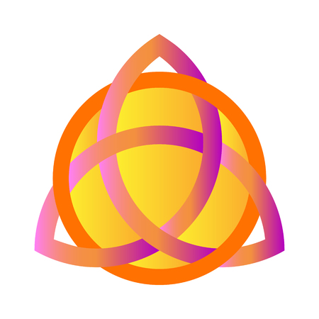 Black Triquetra ornament with purple and golden gradient.