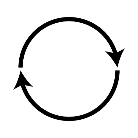 Double curved black recycle icon.