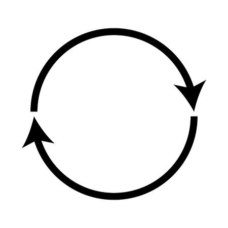 Podwójnie zakrzywiona czarna ikona recyklingu.