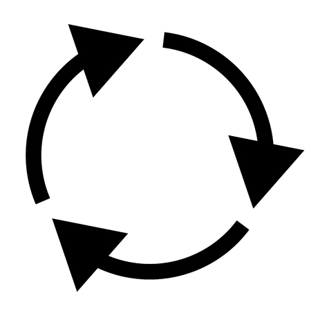 Triple curved recyclerefresh icon Illustration