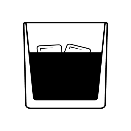Vector whiskey on the rocks icon with two ice. Every piece isolated. Stock Illustratie