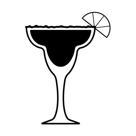 Vector margarita icon with salt and lemon. Every piece isolated.