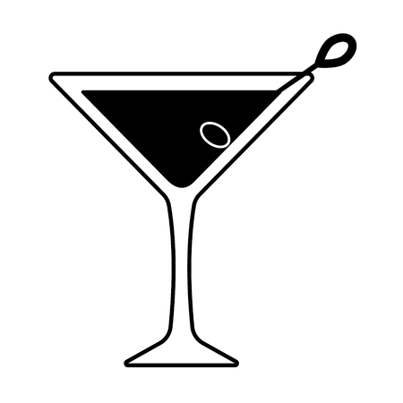 Vector martini icon with olive. Every piece isolated.