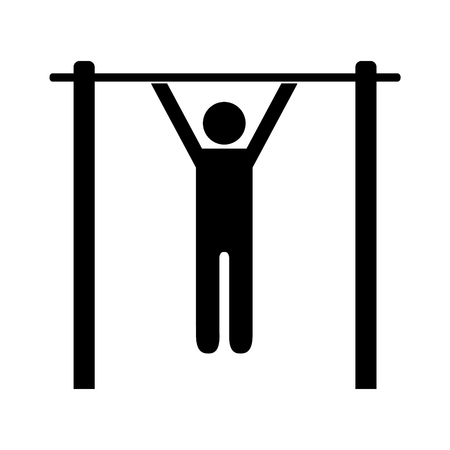 Pictogram man doing pullups. Isolated vector on white background.