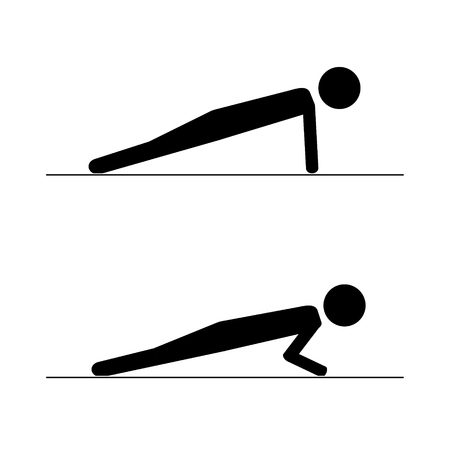 Pictogram man doing push ups. Isolated vector icon.