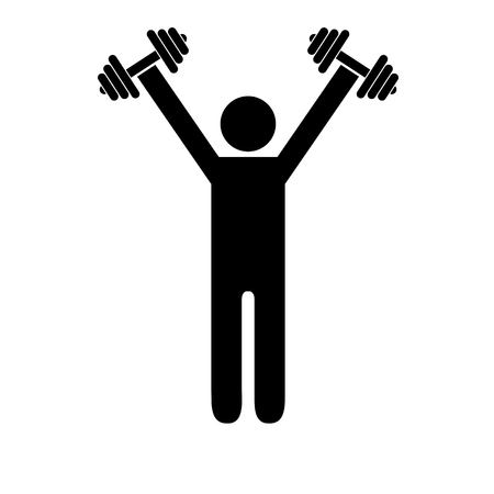 Pictogram man holding heavy dumbbells above his shoulders. Isolated vector on white background. Stock Illustratie
