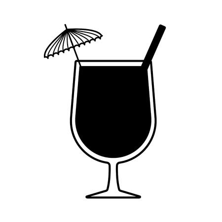 Vector summer cocktail with umbrella and straw. Every piece isolated.