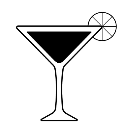 Vector martini with a piece of lemon. Every piece isolated.
