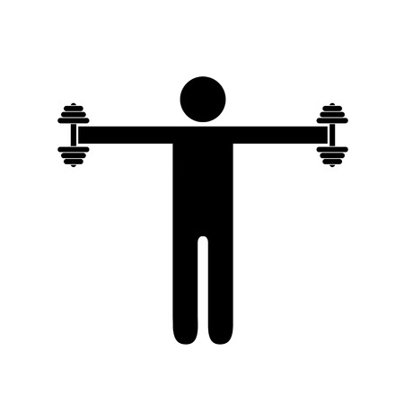 Pictogram man holding heavy dumbbells on his sides at shoulder height. Isolated vector on white background. Stock Illustratie