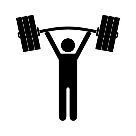 Man figure holding bent barbell on white background. Isolated vector icon. Vectores