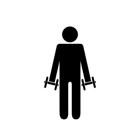 Pictogram man holding light dumbbells in front on his sides. Isolated vector on white background. Stock Illustratie